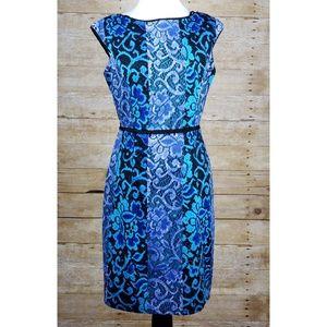 Maggy London Blue Floral Sheath Dress